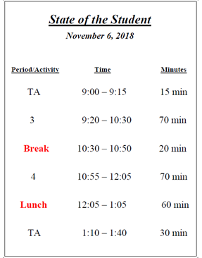 State of the Student Schedule