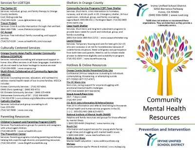 IUSD Community Mental Health Resources